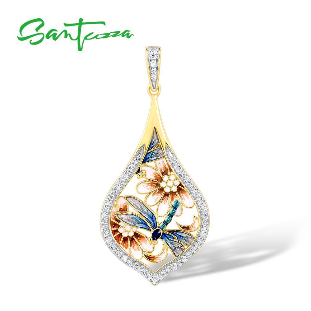 SANTUZZA Silver Pendants For Women Pure 925 Sterling Silver Flower Blue Dragonfly Trendy Gift Party Fine Jewelry Handmade Enamel