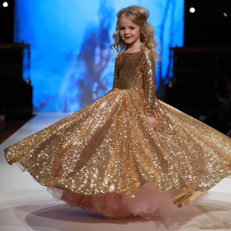 Formal Kids Golden Sequin Wedding Flower Girl Dresses Long Sleeves First Communion Christmas Dress Girls' Pageant Birthday Party