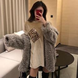Camiseta mujer 2019 otoño e invierno nuevo estilo patrón de leopardo de moda de terciopelo dorado bolsillo suelto cuello redondo manga corta T-s