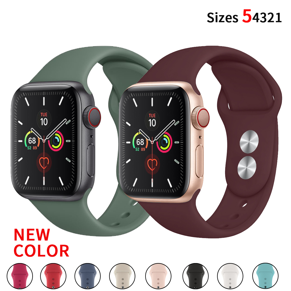 Silicone Strap For Apple Watch Band 38 Mm/42mm Iwatch Strap 44mm 40mm Sport Bracelet Rubber Watchband For Apple Watch 5 4 3 2 1