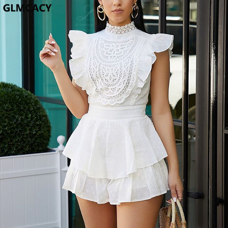 Women Sexy Lace Playsuit Elegant Short Sleeve Short Jumpsuit Romper Mesh Embroidery Backless Overalls