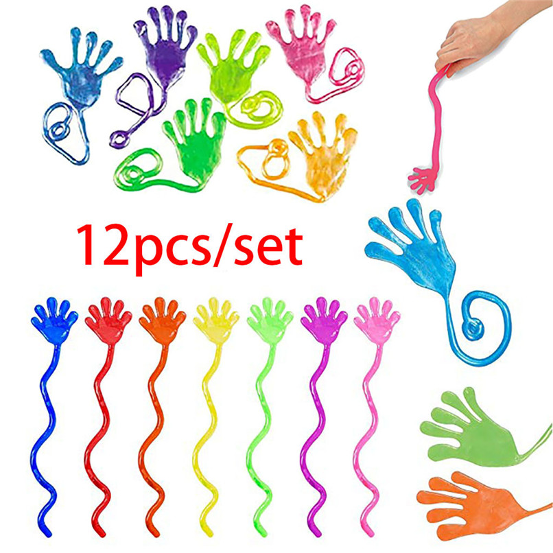 12 Pcs Kids Funny Sticky Hands Toy Palm Elastic Sticky Squishy Slap Palm Toy Kids Novelty Gift Party Favors Supplies #30N27