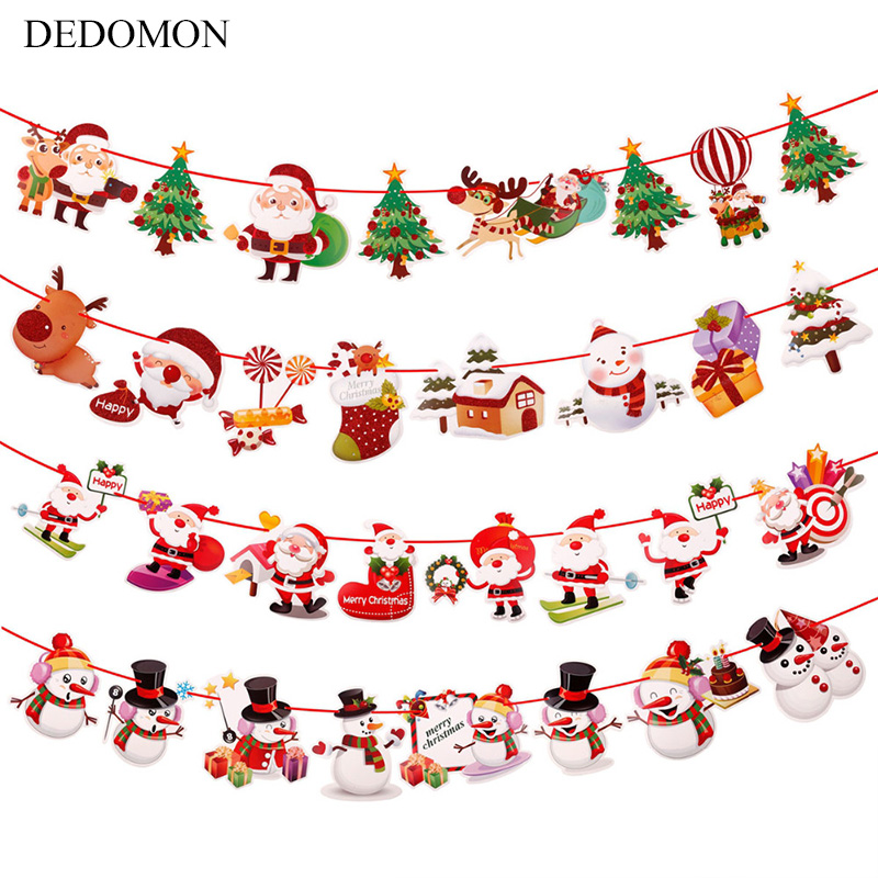 Baby Bedroom 2019 Christmas Banner Decorations Kids Tent Room Bumpers Decor Accessory Wall Hanging Infant Baby Crib Ornaments