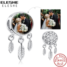 ELESHE Custom Photo 925 Sterling Silver Dreamcatcher Holder Beads fit Pandora Charm Bracelet Necklace DIY Personalized Jewelry necklace 925 sterling silver custom photo