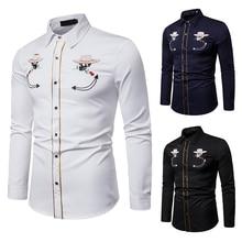 PUIMENTIUA 2019 Men's Slim Printed Lapel Casual Shirt Men's Long-sleeved Large Size Cardigan Men Street Fashion Shirt Plus Size men large size casual long sleeved hoodie
