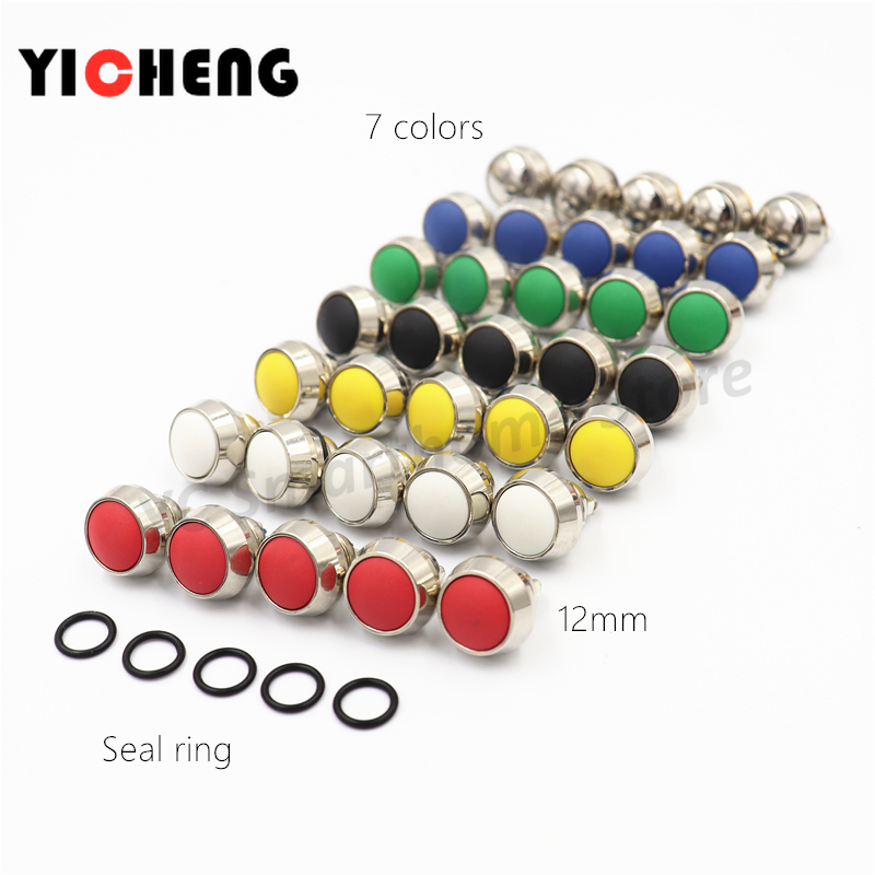5Pcs 12mm waterproof instant 1NO ball button switch screw terminal self reset metal push 7colors spherical