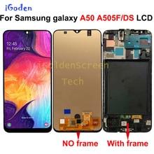 Super Amoled Voor Samsung Galaxy A50 2019 A505F/Ds A505F A505FD A505A Touch Screen Digitizer Vergadering Met Frame