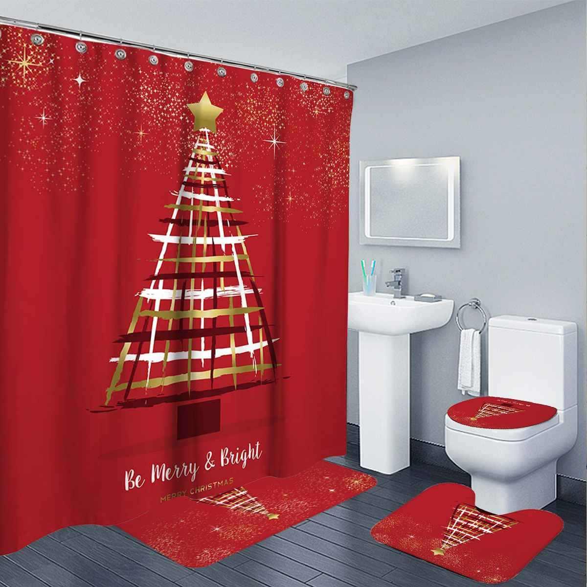 Snowman zasłona prysznicowa z nadrukiem Christmas Deer zasłona prysznicowa pokrowiec na toaletę dywanik kąpielowy Cover Home dekoracje na boże narodzenie