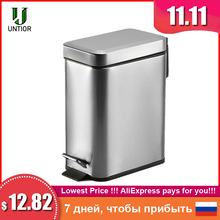 UNTIOR Silent Stainless Steel Trash Can 5L Rectangular Step Kitchen Waste Bin for Bathroom Kitchen Living Room Office Trash Bin