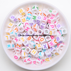 9th Aug Mixed Letter Square Acrylic Spacer Beads 6 10 12MM Pick Size For Jewelry Making