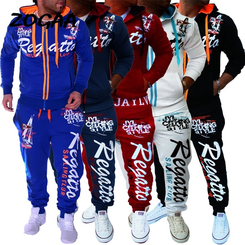 ZOGAA 2020 The New Brand Tracksuit Fashion Men Sportswear Two Piece Sets All Cotton Fleece Thick Hoodie+Pants Sporting Suit