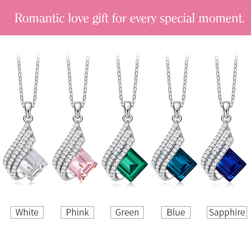 Cdyle Dainty Elegant 925 Sterling Silver Jewellery Clear Crystal Geometric Pendant Necklace Women Girl Birthday Party Gift 4