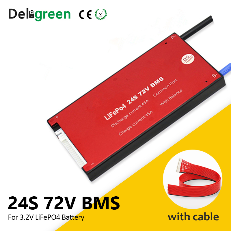 Deligreen 24S 25A 35A 45A 60A 48V PCM/PCB/BMS for 3.2V LiFePO4 battery pack with balance function short circuit protection title=