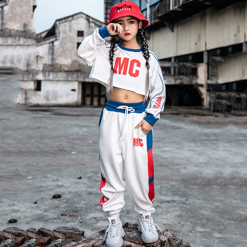 Hip Hop Costumes Girls Street Dance Clothes Kids Jazz Modern Dancing Performance Outfit Children Cheerleading Stage Wear DN4578