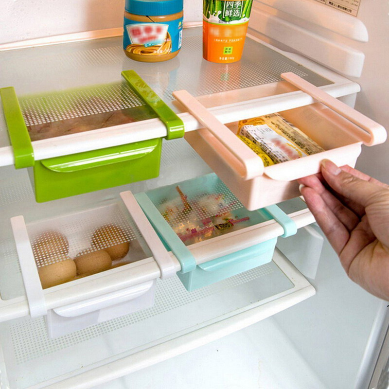 Mini ABS Slide Kitchen Fridge Freezer Space Saver Organization Food Fruit Storage Box Rack Bathroom Shelf Organizer Holder