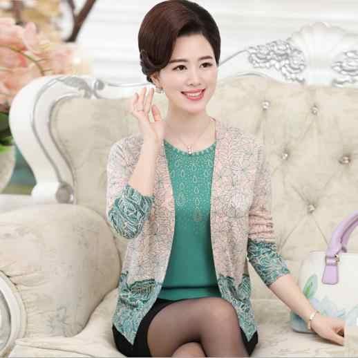 Otoño 2019 Primavera de mediana edad mujeres blusa tricot madre tejer más tamaño suéter mujer de manga larga cardigan poncho tops S219