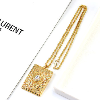Sunspicems Morocco Women Gold Pendant Necklace Hollow Metal Arabesque Square Tags Long Chain Ethnic wedding Hip Hop Jewelry 2