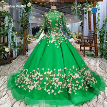 LS169901B Green evening long dresses with veil high neck sleeves lace up muslim formal prom dress ball gown robe de soiree