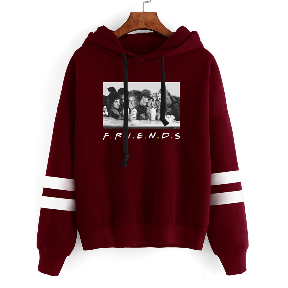 friends halloween sweatshirt women horror character hoodies vintage fashion gothic clothing print oversized hoodie gothic