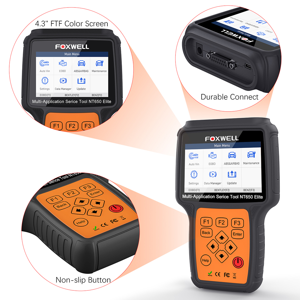 FOXWELL NT650 Elite OBD2 Automotive Scanner ABS SRS SAS DPF Oil Reset Code Reader 20