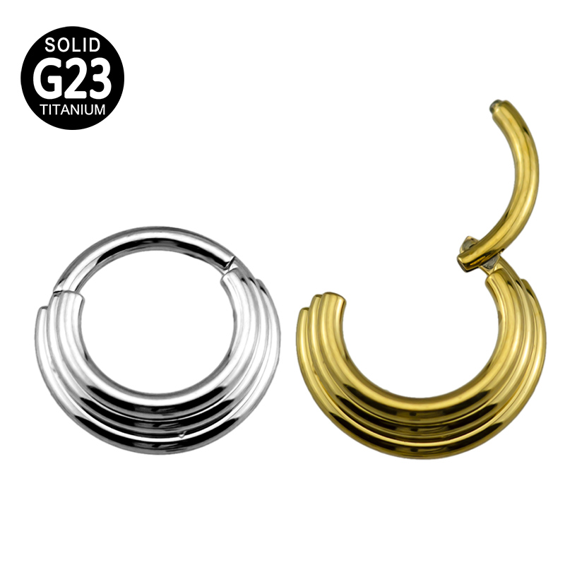 G23 Titanium 3 Tier Stacked Hinged Clicker Ring Septum Piercing Nose Ring Ear Cartilage Tragus Nipple Helix Lip Piercing Jewelry|Body Jewelry|   - AliExpress