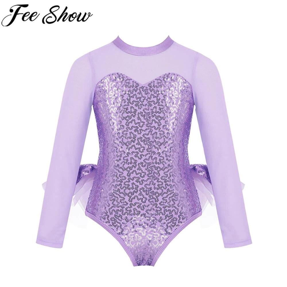 FEESHOW Girls Mock-Neck Lyrical Dance Dress Cutout Back Gymnastics Leotard Sheer Mesh Skirt Modern Dancing Costumes