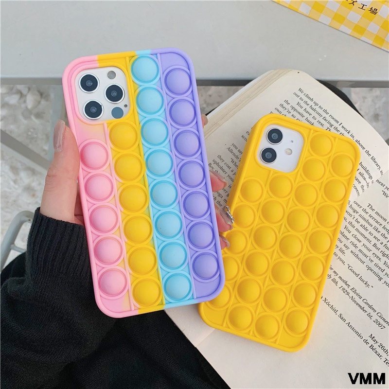 For Iphone12 Mobile Phone Shell 11 Pro Max Pop Fidget Reliver Stress Toys Rainbow Phone Case Silicone Soft Protective Cover