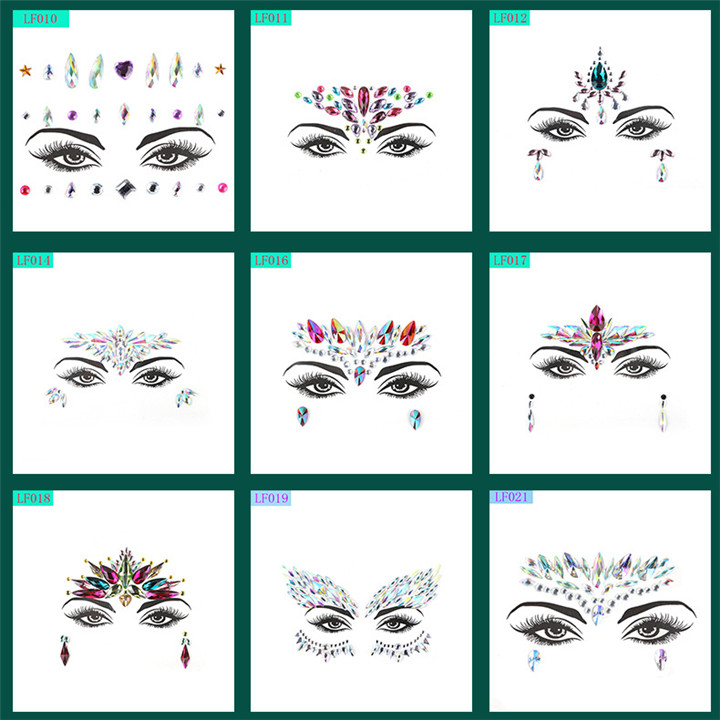 3  Acrylic Rhinestone Face Stickers Women Halloween Christmas Birthday Party Decor Environmentally Colorful Crystal Face Stickers