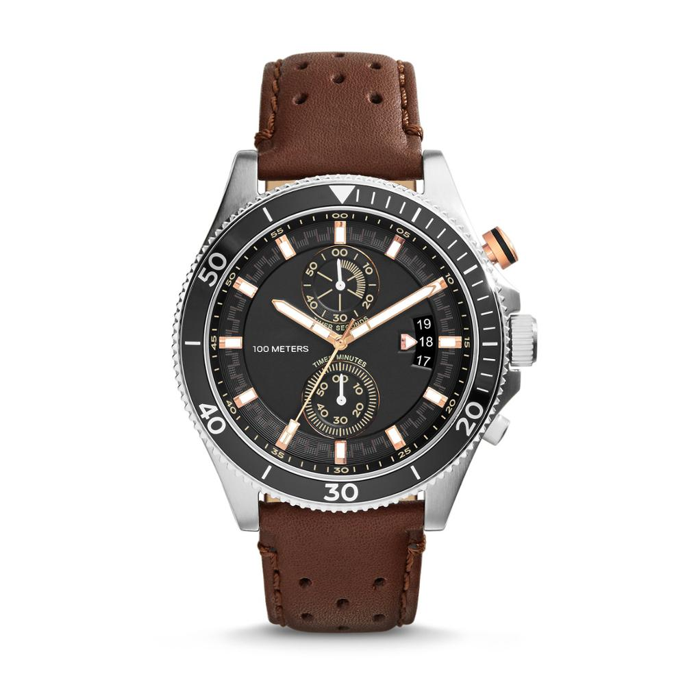 Fossil Men's Watch Wakefield Chronograph Watch With Leather Strap Black Dial Quartz Wristwatch For Men CH2944
