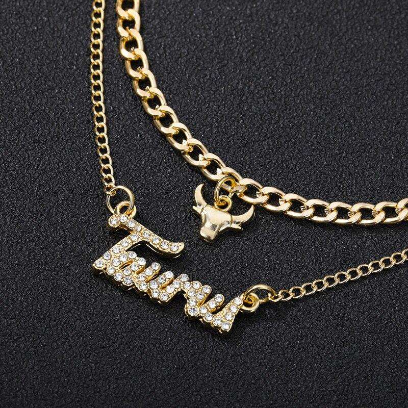 Творчество Европейский двойной слой циркон ожерелье ювелирные изделия для девочек 12 созвездия зодиака с украшением в виде кристаллов, букв...