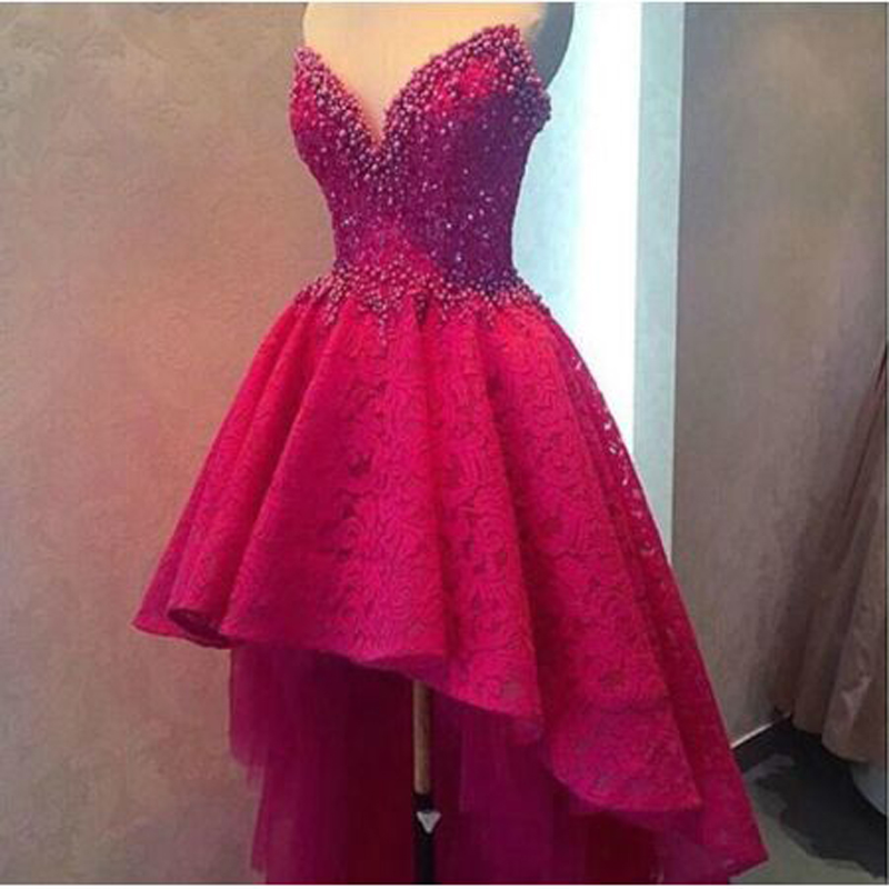 Vintage Appliques Lace Beading High/Low  Cocktail Dresses Simple STRAPLESS Neck Sleeveless Party Gown коктейльное платье