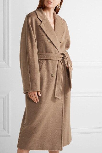 ダブルブレストウールコート固体スリムウールブレンドコートとジャケット女性コート秋冬
