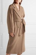 Kruvaze Zarif Uzun Yün Ceket Katı Ince Yün Karışımı Ceket ve Ceket Vintage Uzun Kadın Mont Sonbahar Kış