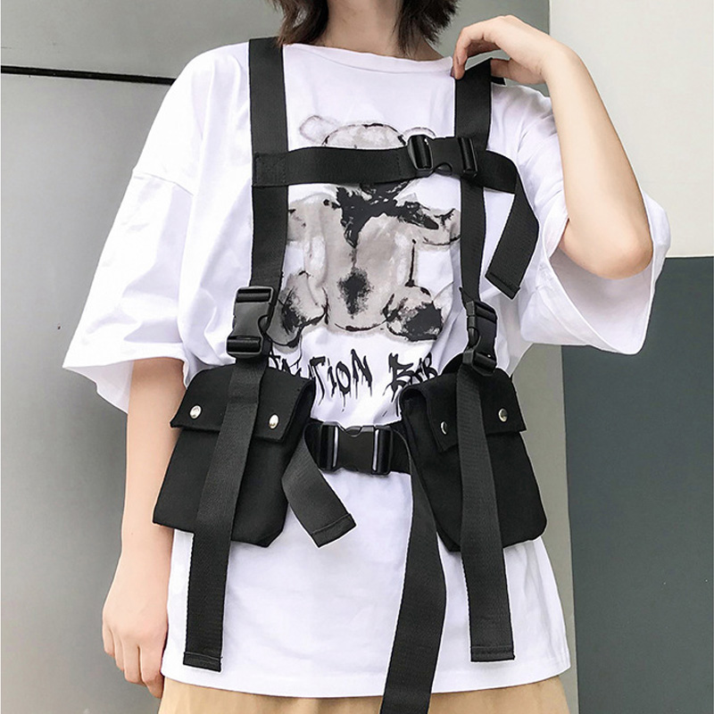 Tactical Vest 2019 Fashion Streetwear Bag For Men Hip Hop Chest Rig Bag Adjustable Multiple Pockets Canvas Men's Vest Chest Bags