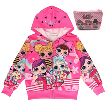 New Spring Autumn Girls Doll Coat Baby Lol Cartoon Kids Zipper Hooded Outwear