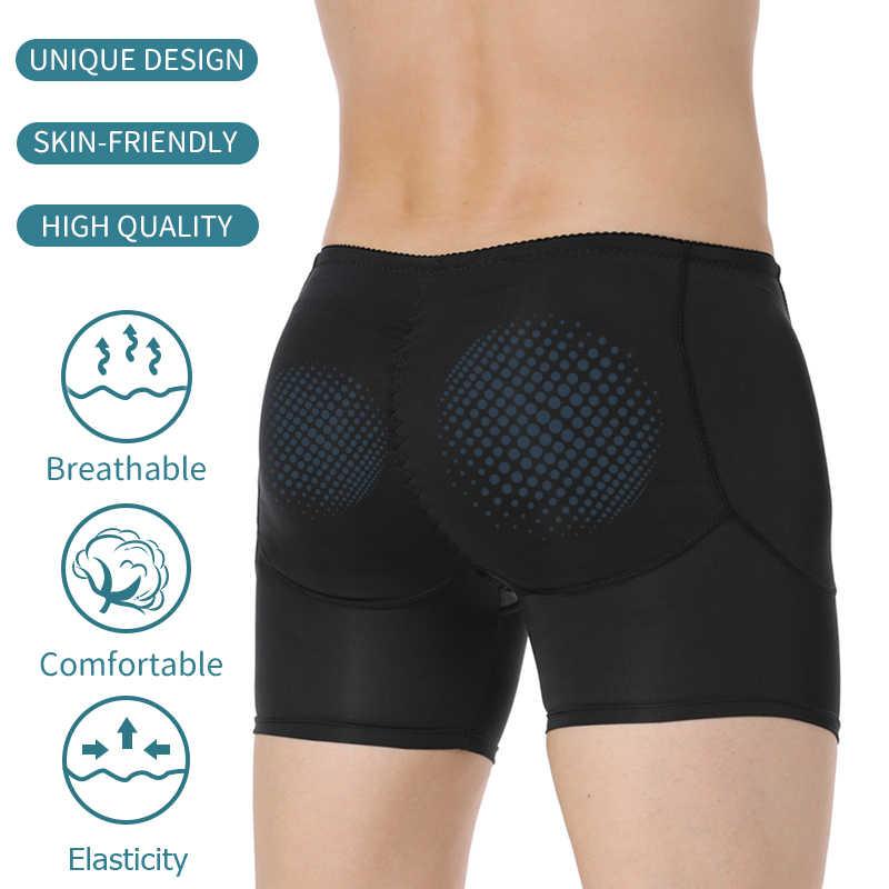Mens Padded Korset Hip Penambah Butt Lifter Pelangsing Tubuh Pembentuk Kompresi Celana Pendek Boxer Meningkatkan Pakaian Dalam Kontrol Celana Dalam