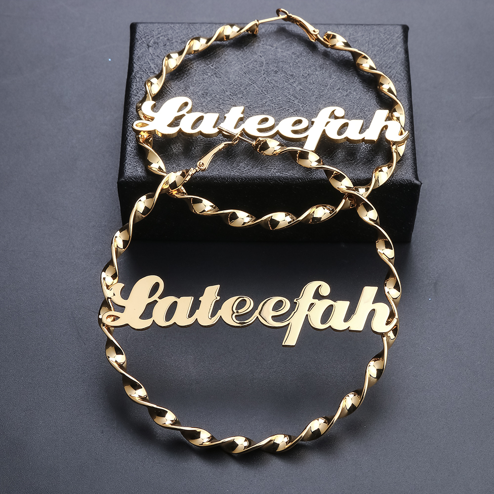 Lateefah Stainless Steel 84mm Custom Name Earrings Personalized Fashion Charming Earrings Name Earrings Style Custom Earrings