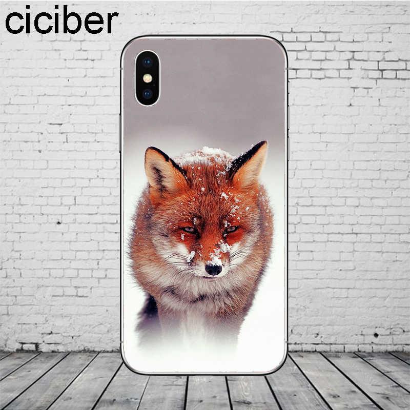 Ciciber 動物キツネ雪電話ケース 11 プロマックス Iphone XR 8 7 6 6S プラス X XS 最大 5S 、 SE ソフト TPU シェル Coque