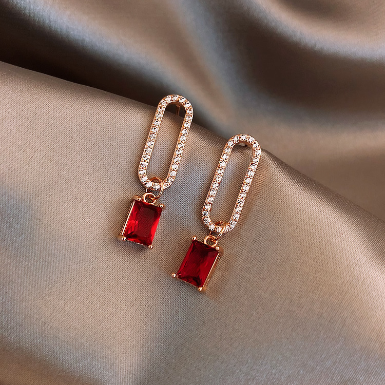 H03f7eb0418c543cd8007cdd637c3947b9 - 2019 New Arrival Korean Crystal Simple Red Earrings Trendy Geometric Women Dangle Drop Earrings Jewelry Earrings