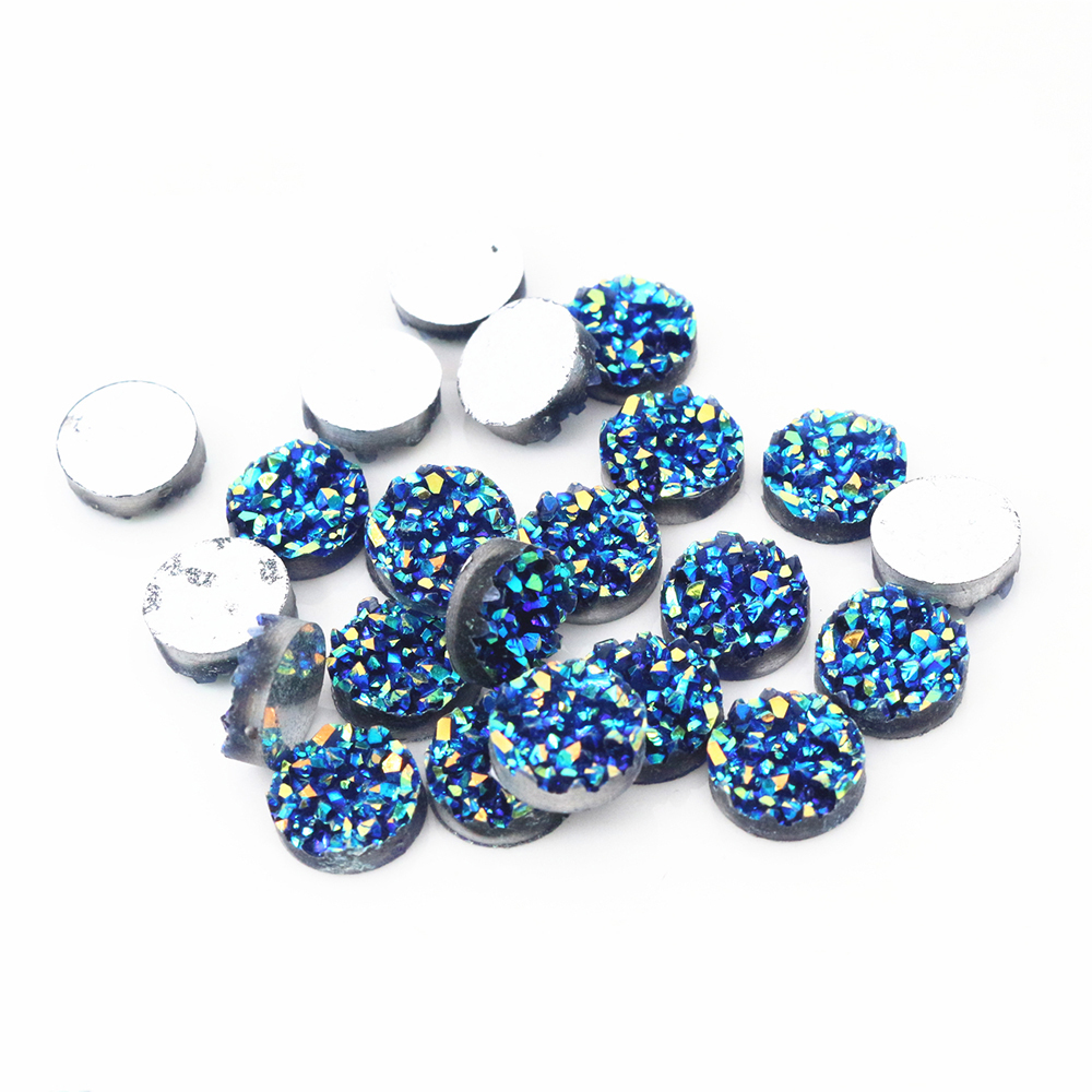 New Fashion 40pcs 8mm 10mm 12mm Blue AB Colors Natural Ore Style Flat Back Resin Cabochons For Bracelet Earrings Accessories