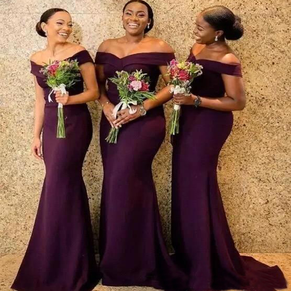Sexy Grape Country Mermaid Bridesmaids Dresses 2020 Long Off Shoulder Sweetheart Cheap Backless Sweep Train Wedding Guest Gowns