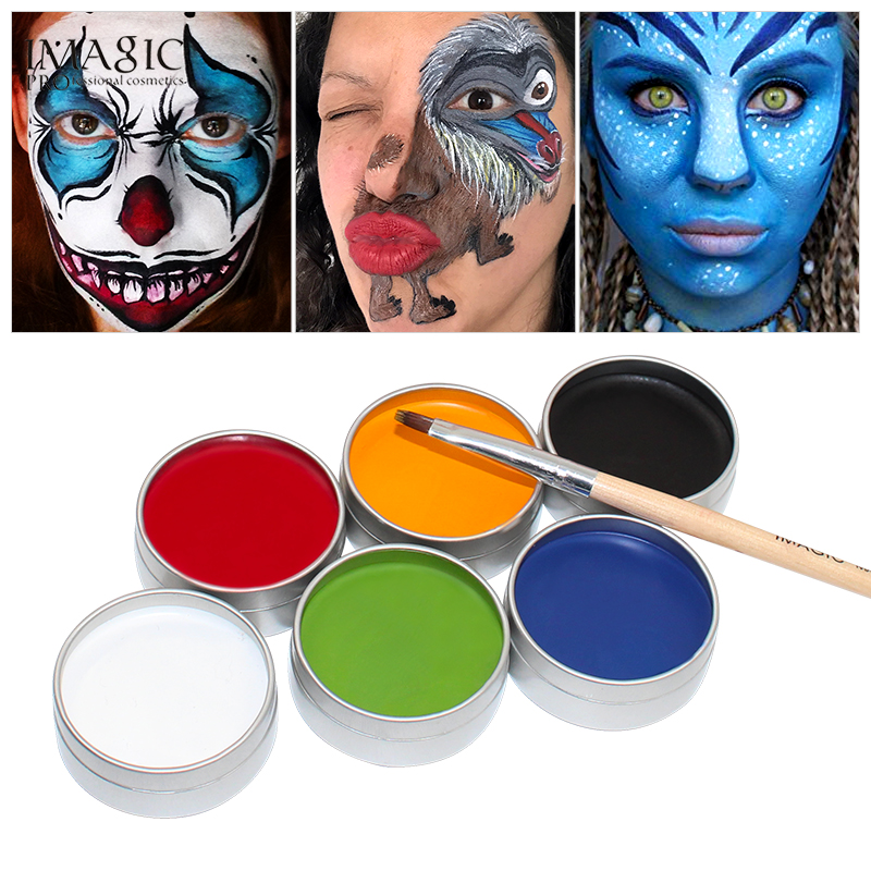 IMAGIC 6 Colors Face Painting Kit Body Makeup Non Toxic Water Paint Oil With Brush For Christmas Halloween Fancy Carnival Party
