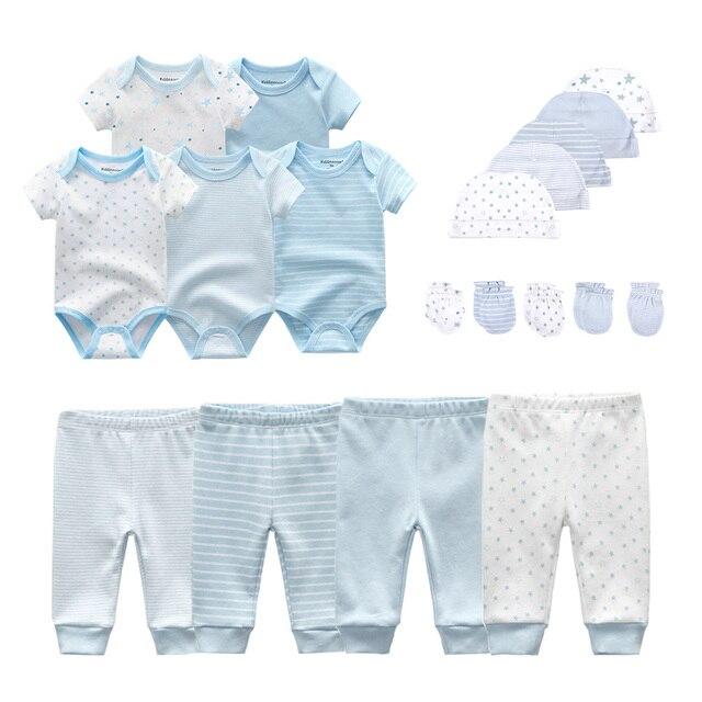2020 solido Unisex New Born Baby Boy Vestiti Body E Tutine + Pants + Cappelli + Guanti Del Bambino Vestiti Della Ragazza del Cotone Set Abbigliamento roupa de bebe
