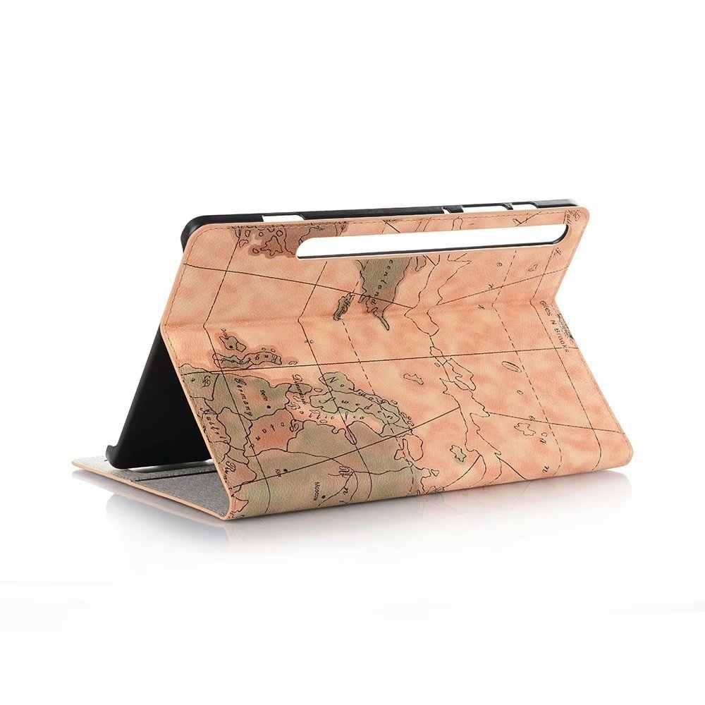Слот для карты мира Искусственная кожа таблетки чехол для Samsung Galaxy Tab S6 T860 T865 10,5 дюймов 2019 крышка подставка Smart Sleep wake Coque + ручка