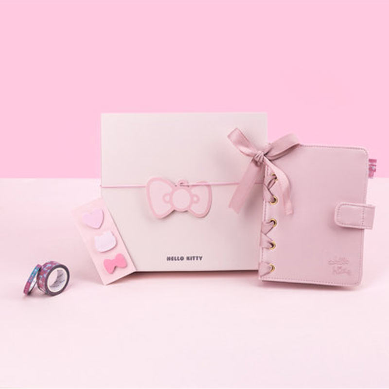 2020 1 Set Yiwi Kinbor Hello Kitty Binder Planner Diary Pu Leather Notebook With Sticker Gift Packing