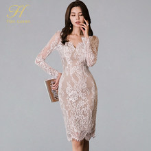 H Han Koningin Herfst Sexy Kant Patchwork Potlood Bodycon Vrouwen Jurk Hollow Out See Through Schede Jurken OL V-hals Werk vestidos(China)
