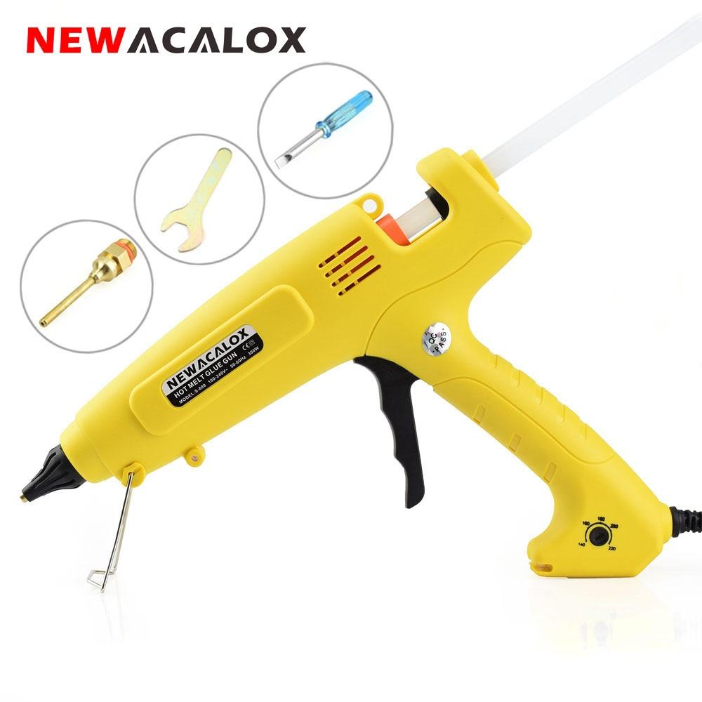 NEWACALOX EU dugasz 300W 100-240V meleg olvadású ragasztópisztoly 11 mm-es ragasztópálcák DIY kézi szerszámok intelligens hőmérséklet-szabályozó réz fúvóka