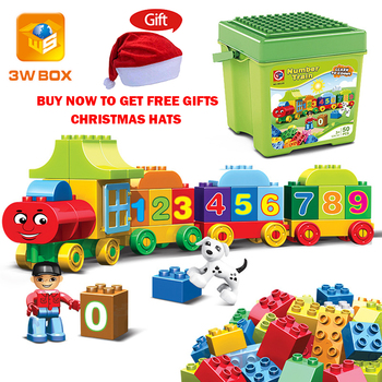 3WBOX Big Size Number City Train Large Particles Duplo Building Blocks DIY Bricks Educational Baby Toys For Children Gifts 50pcs large particles numbers train building blocks bricks educational babycity toys compatible with duplo diy