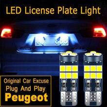 1pcs LED License Plate Luz Lâmpada W5W T10 Para Peugeot 206 307 407 parceiro 508 sw 307 406 301 5008 2008 508 207 408 4008 206