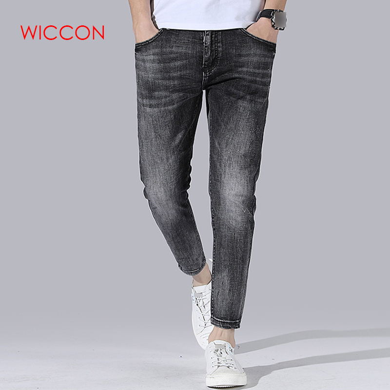 2020 New Mens Fashion Black Jeans Mens Skinny Jeans Slim Fit Strecth Washed Scratched Casual Denim Trousers Male